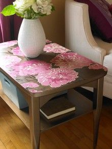make over a coffee table with wall paper