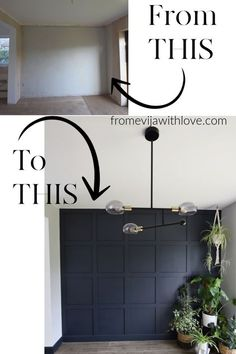 Create a beautiful statement wall using mdf board and adhesive, easy step by step tutorial for grid square panel wall, using Farrow & Ball Railings wall DIY Statement Panel Wall Farrow & Ball Accent Wall Bedroom, House, Wall Paneling Diy, Home Projects, Home, Remodel, Home Remodeling, New Homes, Home Diy