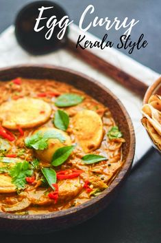 This Kerala style egg curry is packed with flavours – it has subtle sweetness from onions, creaminess from coconut milk, mild tanginess from tomato, and a hint of heat from chillies. Egg curry Kerala style with chapati. Curry Recipes, Egg Recipes, Indian Food Recipes, Ethnic Recipes, Sweets Recipes, Egg Curry, Chapati, Spicy Chili, Man Food