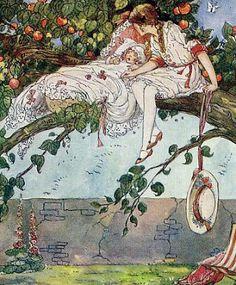 fine arts – Google Sök Vintage Children's Books, Vintage Art, Vintage Illustration Art, Garden Illustration, Book Illustrations, Rock A Bye Baby, Tarot, Fairytale Art, Pictures To Paint