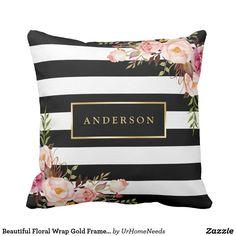 Beautiful Floral Wrap Gold Frame Elegant Stripes Throw Pillow