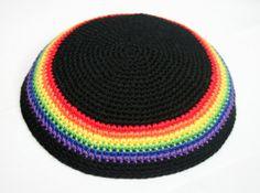 kippah rainbow and black by rainbow6colors on Etsy