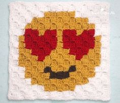 Crazy Face Emoji C2C square and pixel graph - Repeat Crafter Me