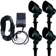 Landscape Lighting Kit 4 Pack 20 Watt Floodlight Low Voltage Halogen Black