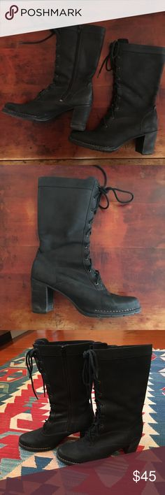 Black leather boho style lace up boots Funky mid-calf lace-up boho style leather boots.  Side zipper. Super comfortable.  Clark's Indigo brand. Clarks Shoes Heeled Boots
