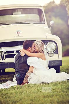 "I would love this!! Our car has a very nice special ""treat"" on it for our wedding and so, I would love to see my fiance and I sitting in front of the car like this, maybe on a nice throw of ours, cuddled beside the car like this <3"