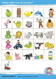 * Letterkaartjes voor de taalhoek 3, letters herkennen, eerste letter.
