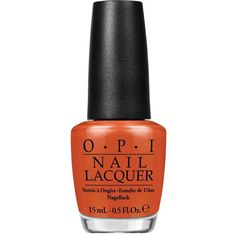 OPI Nail Lacquer - It's A Piazza Cake - Colour Orange (£13) ❤ liked on Polyvore featuring beauty products, nail care, nail polish, beauty, nail, shiny nail polish, opi, opi nail polish and opi nail lacquer