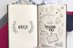 Monthly drawing prompts for Bullet Journaling - Hygge illustrations