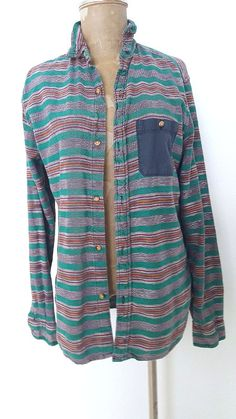 Koto Shirt Size Small Aztec Stripe Mens Cotton Urban Outfitters Long Sleeve #Koto #ButtonFront