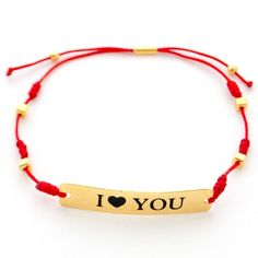 Pulsera Hilo Nudos I Love You Gold-filled