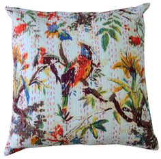 Add bold color to your living room decor with these dazzling Indian pillow covers. The elegant cover is completely hand-stitched, for added beauty, and it can accommodate a standard 24-inch square pillow.Beautify your living space with this sumptuous cushion cover made from the finest materials, created by skilled Asian artisans.