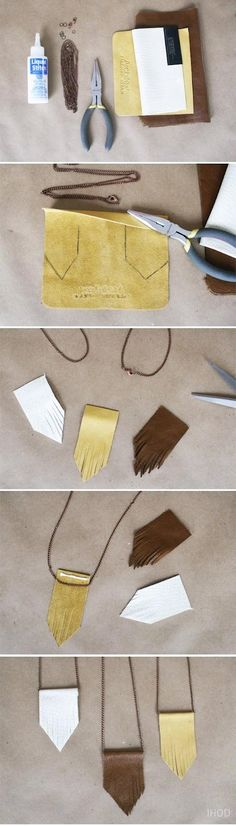 collar statement necklace- DIY: Leather Fringe Tiered Necklace