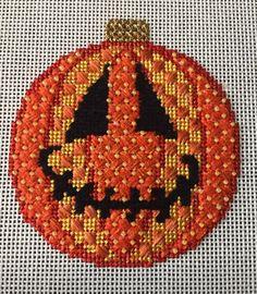 Associated Talents needlepoint pumpkin/jack o'lantern