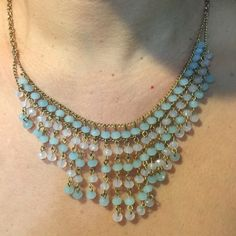 Beautiful necklace Pretty mint pale gray cascade necklace Jewelry Necklaces