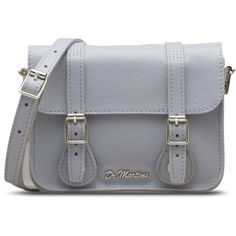 """Dr. Martens 7"""" Leather Satchel Bag (7.340 RUB) ❤ liked on Polyvore featuring bags, handbags, blue moon, genuine leather purse, satchel handbags, leather satchel, blue handbags and blue leather purse"""