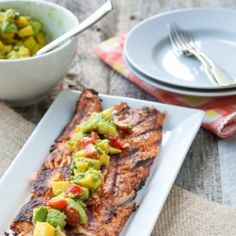A mildly spicy grilled salmon with a mango-avocado salsa to cut the heat.