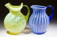 ASSORTED FENTON / L. G. WRIGHT PITCHERS, LOT OF TWO