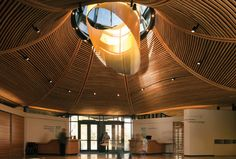 Project :VanDusen Botanical Garden Visitor Centre, Architect : Perkins + Will, Location :Vancouver, Canada,Year of Construction: 2011 A As Architecture, Commercial Architecture, Wooden Ceilings, Modern Buildings, Architect Design, Amazing Gardens, Botanical Gardens, Vancouver, Centre