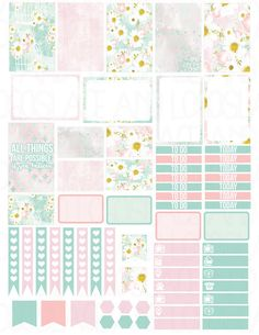 Printable Planner Stickers Birdcage Floral for MAMBI Happy