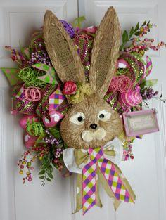 Deco Mesh Easter/Spring Sisal Bunny Wreath by WreathsbyCrazyLady on Etsy