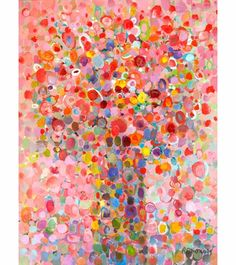 Floral bouquet painting - this looks like fun to try and reproduce with the kids.  It's just layer upon layer of multicolored circles.