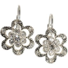 Betsey Johnson Crystal Flower Earrings ($30) ❤ liked on Polyvore featuring jewelry, earrings, no color, blossom jewelry, flower jewelry, betsey johnson, flower jewellery and betsey johnson earrings