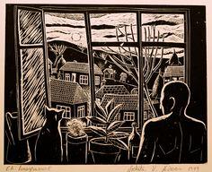 linogravura.privitul asfintitului pe fereastra.2.c