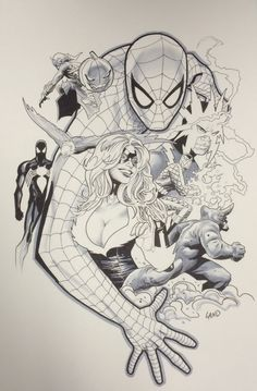 Greg Land Spider-Man Black Cat Comic Art
