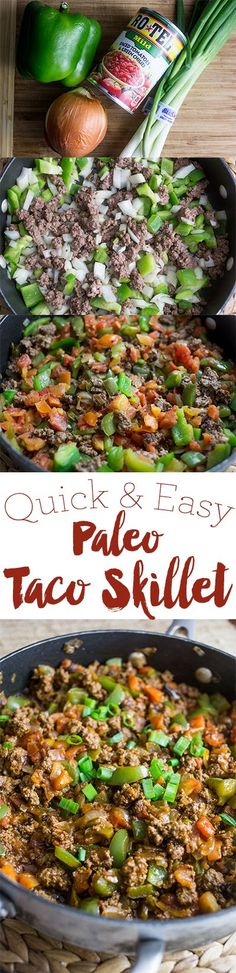 Quick and easy paleo taco skillet- a delicious family pleasing one pot meal! Quick and easy paleo taco skillet- a delicious family pleasing one pot meal! Mexican Food Recipes, Real Food Recipes, Diet Recipes, Healthy Recipes, Paleo Food, Recipies, Easy Paleo Dinner Recipes, Sugar Detox Recipes, Mexican Drinks