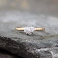 Raw Diamond Engagement Ring - Stacking Ring - April Birthstone -. $195.00, via Etsy.