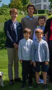 Princes Felix, Nikolai, Christian, Henrik et Vincent, 5 juin 2017, Fête des 50 ans de mariage de la reine Margrethe et le prince Henrik de Danemark, Château de Fredensborg (Fredensborg, Danemark)
