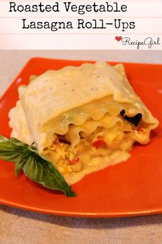 Roasted Vegetable Lasagna Roll Ups - RecipeGirl.com