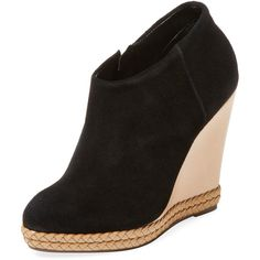 Schutz Women's Belua Suede Bootie - Black - Size 10 ($90) ❤ liked on Polyvore featuring shoes, boots, ankle booties, black, wedge booties, black high heel booties, black suede boots, black high heel boots and black booties