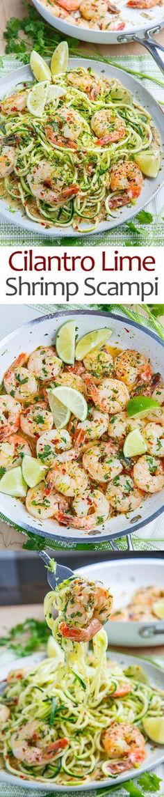 Cilantro Lime Shrimp Scampi with Zucchini Noodles (Baking Dinner Noodles) Zucchini Noodle Recipes, Zoodle Recipes, Spiralizer Recipes, Fish Recipes, Seafood Recipes, Paleo Recipes, Low Carb Recipes, Dinner Recipes, Cooking Recipes