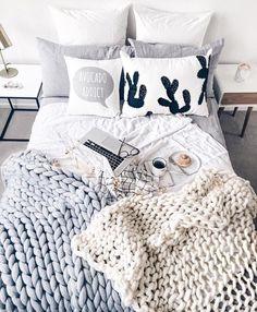 Throw pillows + blankets