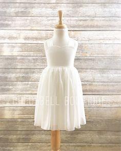 d76e64ac4bc Ivory Chiffon Flower Girl Dress - Sweetheart flowergirl dress - Beach  wedding flower girl dress- Spe
