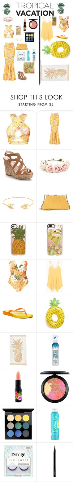 """""""Tropical outdoor wear/ Tropical swim wear"""" by em-miroiu ❤ liked on Polyvore featuring Jennifer Lopez, Forever 21, Lord & Taylor, Mansur Gavriel, Casetify, Max&Co., Rider, Big Mouth, Not Your Mother's and MAC Cosmetics"""