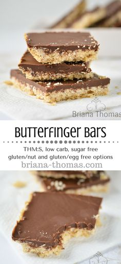 Butterfinger Bars...THM:S, low carb, sugar free, gluten/nut/egg free possibility...this is one of the most popular recipes on my website, and it's gotten a makeover!  Briana's Baking Mix option