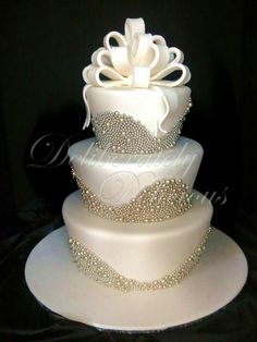 Ivory & Silver Pearls Wedding Cake