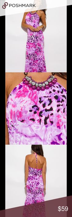 HALTER EMBELLISHED EVENING DRESS SIZE LARGE!! WOMENS LILAC, PURPLE AND PINK ANIMAL PRINT, EMBELLISHED,HALTER, -BEJEWELED OPEN BACK PARTY/EVENING DRESS  SIZE Large  Va Va Voom Dresses Maxi