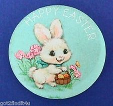 Hallmark Pinback HAPPY EASTER Bunny PIN Egg Basket Flowers Holiday 1970s Button
