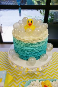 Blue ombré ruffles rubber ducky cake with gelatin bubbles