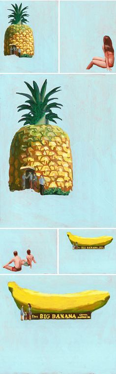 scroll down past the awesome pineapple home and there sits a banana! (paintings by maz dixon)