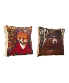 Another great find on #zulily! Old Bear & Fox Lodge Pillow Set #zulilyfinds