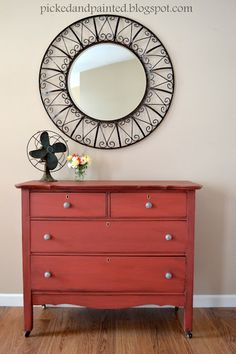 DIY Painted Dresser - Gorgeous Glazed Dresser painted with oops paint & finished with a black glaze - Love the rich color! by Picked & Painted #DIY #Painted #Furniture