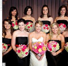 Black and pink bridesmaids