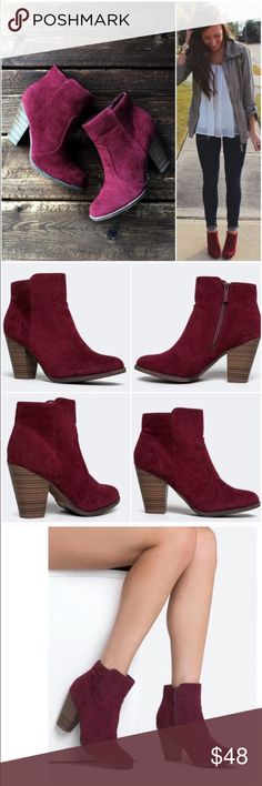 "⭐️LAST SIZES!⭐️NIB Burgundy/Wine Ankle Booties NIB Wine/Burgundy Ankle Booties. Pair these beautiful booties with skinnies or a dress -- such a beautiful color for fall and winter! Features a wooden heel, decorative stitching, and inner ankle zipper closure. Non-skid sole, cushioned footbed. Heel is approx 3.5"", shaft is 7.5"" height, opening circumference approx 10.5"". Fits true to size, vegan suede. No Trades and No Paypal PRICE IS FIRM, but can discount in a bundle. Not able to restock…"