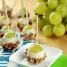 "Snack idea! Delicious and perfect for any party! ""Grape Popperz""   (could do with cherries....strawberries heck any type of fruit you can..."