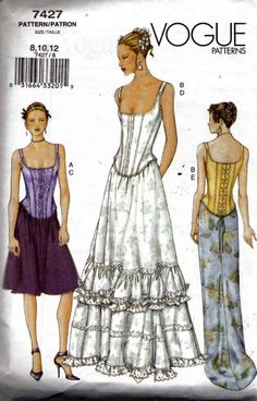 Vogue 7427 Sewing Pattern Corset Bustier Top and Skirt Formal Prom Wedding Sizes 8-10-12 UNCUT OOP